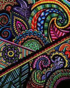 Rainbow Henna Mehndi Drawing 8x10 Print by ViewFromTheEdge on Etsy, $12.00