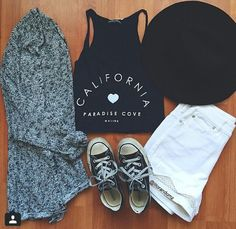 California sleeveless crop top with white high waisted shorts and converse