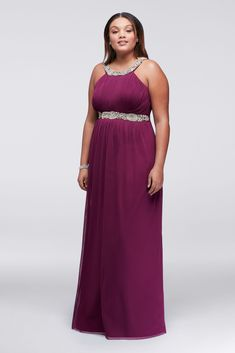 Plus Size Beaded Halter Neck Long Jersey Prom Dress Style 8420TA3W with Beaded Waistband
