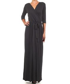 Another great find on #zulily! Black Surplice Maxi Dress by J-Mode USA Los Angeles #zulilyfinds