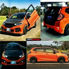 """Honda Jazz.  Added : 17"""" wheels, body kit, carbon fiber parts, head lights, tail lamps, tein lowering springs, leather seats, fully repainted to pearl orange. Honda Jazz Modified, Honda Vtec, Lux Cars, Leather Seats, Honda Fit, Honda Cars, Best Luxury Cars, Carbon Fiber, Autos"""