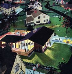 Party in the Suburbs - detail from 1957 Calvert Reserve Whiskey ad.