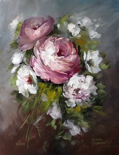 Browse through images in Jansen Art Gallery's Beautiful Roses collection. The queen of all flowers, the rose have been popular in decoration for over years. Peony Painting, Tole Painting, Painting & Drawing, Acrylic Flowers, Acrylic Art, Selling Paintings, Rose Art, Beautiful Roses, Flower Art