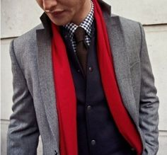 Shop this look for $214:  http://lookastic.com/men/looks/tie-and-scarf-and-longsleeve-shirt-and-vest-and-blazer/120  — Brown Knit Tie  — Red Scarf  — White and Navy Gingham Longsleeve Shirt  — Navy Waistcoat  — Grey Wool Blazer