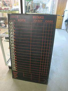 Vintage Horse Racing Scoreboard 4Ft. Blackboard Jockey Track Double Sided Chalk