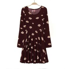 Flower patterned round collar long sleeve dress [#394]
