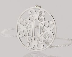 2 inch Personalized monogram necklace - $45.95 - I like the last name as the middle initial.
