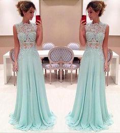 Fashion Mint Green Long Chiffon Evening Dresses A line Women Dresses