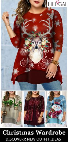 @ your bff to celebrate the Christmas party~ Check more cute plus size christmas tops on Linkshe. Only Fashion, Plus Size Fashion, Boho Fashion, Summer Outfits Women, New Outfits, Fashion Outfits, Plus Size Christmas Tops, Holiday Tops, Plus Size T Shirts
