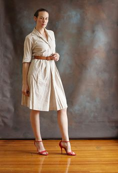 Beige and White Cotton Dress, size 4 on Etsy