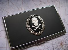 Skull and Crossbones Pirate Card Case by bluesparrowtrinkets, $18.00 Skull Wedding, Skull And Crossbones, Card Case, Pirates, Wallet, Unique Jewelry, Handmade Gifts, Etsy, Kid Craft Gifts