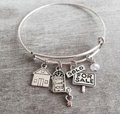 Real Estate Agent Bangle, Silver Plated Charm Bracelet, Agent Gift, Adjustable…