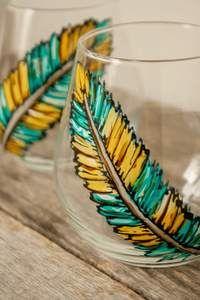 Duo de verres à vin design plumes cadeau peint à la main – Pero