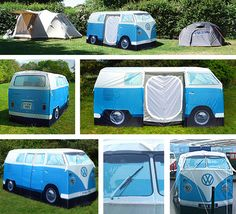 VW-Bus-Camping-Tent.  This camping tent is spacious enough for four people. Available in blue, red, and yellow