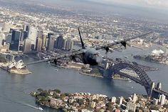 Anniversary of No. 37 Squadron A No. 37 Squadron Hercules flies over Sydney harbour to commemorate the Anniversary of the Squadron. Royal Australian Navy, Royal Australian Air Force, Air Force Images, C130 Hercules, Australian Defence Force, C 130, Australia Map, Work Horses, Army & Navy