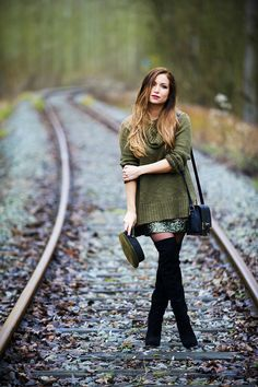 H&M Knit, H&M Sequin Skirt, Sam Edelman Over The Knee Boots, Forever 21 Bag.