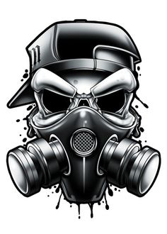 Black and Grey Gas Mask Temporary Tattoo