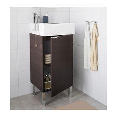 LILLÅNGEN Servantskap med 1 dør - rustfritt stål, brunsvart, 40x41x92 cm - IKEA