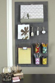 Pegboard Tin Can Organizer Craft Room Storage, Craft Organization, Paper Storage, Organizing Tips, Garage Storage, Classroom Organization, Peg Board Hooks, Peg Boards, Bulletin Boards