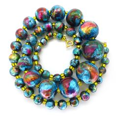 Vintage Art Deco Bohemian Rainbow Foil Glass Bead Necklace | Clarice Jewellery