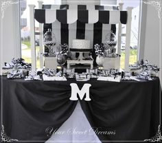 Black and white birthday party! See more party ideas at CatchMyParty.com!