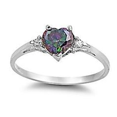 Madison: 0.81ct Heart Cut Mystic Topaz and CZ Promise Friendship Ring