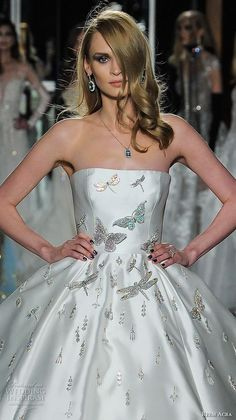 reem acra spring 2018 bridal strapless straight across neckline heavily embellished bodice glamorous princess ball gown wedding dress long train (25couture) zv -- Reem Acra Spring 2018 Wedding Dresses