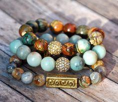 Stack of gemstone beaded bracelets