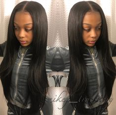 Middle Part Traditional Sew In With Minimal Leave Out Of Course