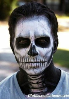 Full Face neck skeleton makeup male