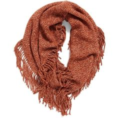 Women's Bp. Marled Knit Fringe Infinity Scarf (605 RUB) ❤ liked on Polyvore featuring accessories, scarves, rust multi, tube scarves, fringe shawl, infinity scarves, long infinity scarf and tube scarf