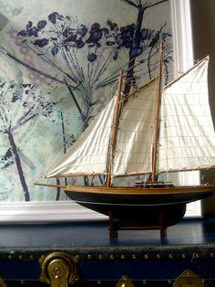 Vintage Model Yacht by joythorpe on Etsy, $140.00