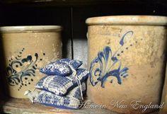beautiful crocks with blue