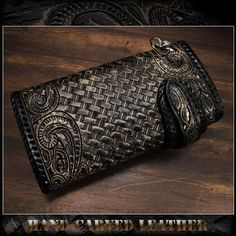 WILD HEARTS | Rakuten Global Market: Carved Leather 3/Tri-fold Biker Wallet Python Onyx Silver Concho Wallet chain WILD HEARTS Leather&Silver (ID lw2459)