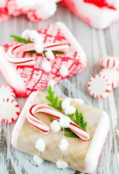 DIY peppermint soap for your holiday guests to use with this easy winter project.