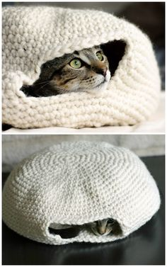 "DIY Crochet Cat Nest ""Muffin Oven"" Pattern by Eilen Tein on Ravelry. Cute photos by The Dapper Toad of the Cat Nest she crocheted using the free pattern from Ravelry here (go to her site for the link). I've mentioned it before, but you can sign up..."