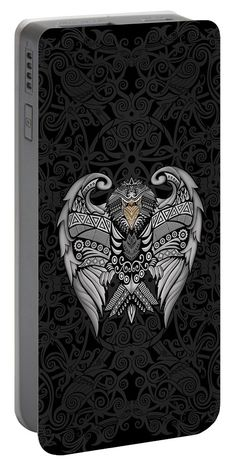 Aztec Mayan Eagle Pattern Portable Battery Charger Available for @pointsalestore #portablebatterycharger #case #aztec #pattern #vintage #blackwhite #ravenclaw #hawk #eagle #animal #bird #tattoo #mayan #indian #native