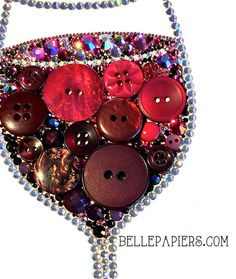 Button Art red Wine Glass Decoration Red Wine by BellePapiers