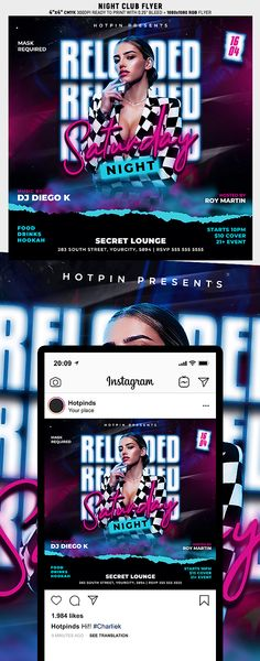 """Night Club Flyer Template is very modern psd flyer that will be the perfect invitation for your Night Club event or party! All elements are in individual layers and the text is fully editable! 2 PSD files - 4""""x4"""" with 0.25"""" bleed + 1080x1080 Rgb Social media ready Clearly labelled folders and layers"""