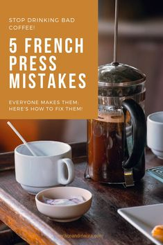 5 mistakes you are making with your French press and how to fix them! Never drink bad coffee a Coffee Creamer, Iced Coffee, Coffee Drinks, Coffee Tables, Coffee Jelly, Coffee Mugs, Chemex Coffee, Coffee Enema, Coffee Club