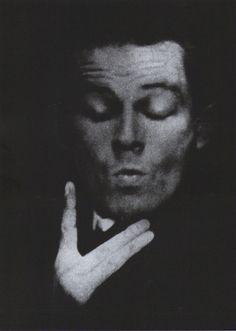 Egon Schiele, Photographic self-portrait with eyes closed, 1914 photographed by Anton Josef Trčka