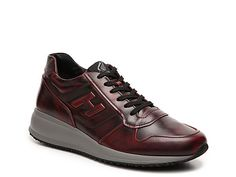 Men Hogan Leather Retro Sneaker -Red