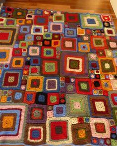 Crochet Bright Squares Blanket Throw - Babette or vivid dreams Using yarn from #spotlight40 pattern from #betterhomesandgarden