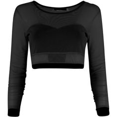 Aine Mesh Bralet L/S Crop ($1.42) ❤ liked on Polyvore featuring tops, shirts, crop top, shirts & tops, black shirt, tulle shirt, black top and tulle top