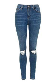 MOTO Mid Blue Rip Jamie Jeans