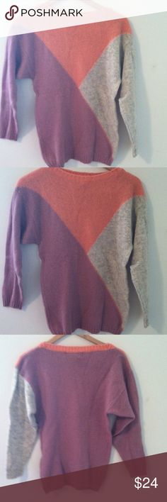 👉Scottish wool sweater👈vintage 100% wool Shetland sweater. Made in Scotland. Tag says dry clean or hand wash. Gorgeous pink salmon/purple and gray. Pit to pit 17.5 inches but stretchy. Shoulder to bottom about 25 inches. Great for layering. Tag is cut (see pic4) but sweater in very good condition. Priced to sell! Vintage Sweaters