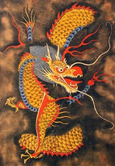 Antique Korean Dragon Painting Exploding with Life and Personality - Tattoo MAG Korean Dragon, Oriental Art, Japanese Drawings, Painting, Asian Dragon, Asian Tattoos, Art, Korean Painting, Dragon Art