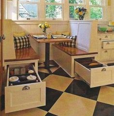 Bench seats can create extra storage space! Find your dream home at http://www.dongardner.com/. #DiningRoom #Storage #HomePlan
