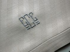 """Gorgeous Pair of Tan Linen Antique Towels with Hemstitching, Embroidered with Gray """"ECE"""" Monogram, 15x22.5"""""""