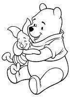 kolorowanka Kubuś Puchatek i Prosiaczek przytuleni jak dwaj przyjaciele, dla dzieci, obrazek do wydrukowania i  do pokolorowania numer  23